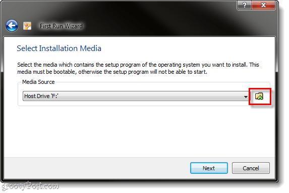 select installation media virtualbox ubuntu