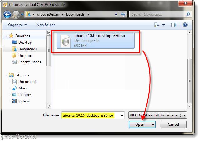 select virtualbox iso file