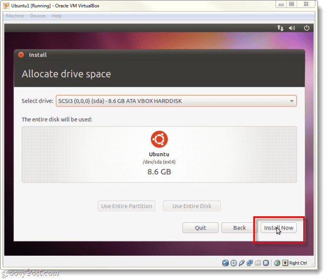 tell ubuntu to install now