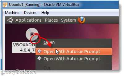 autorun vboxadditions disk in ubuntu virtualbox