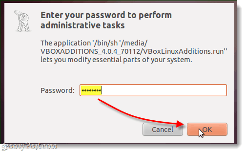 type administrator password to authenticate