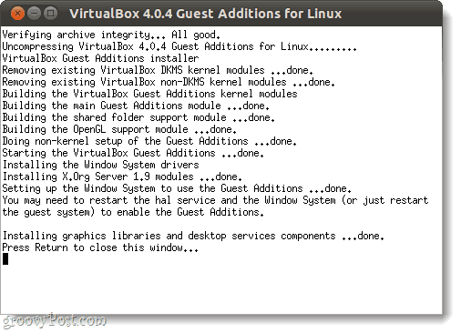 run virtualbox guest additions in linux