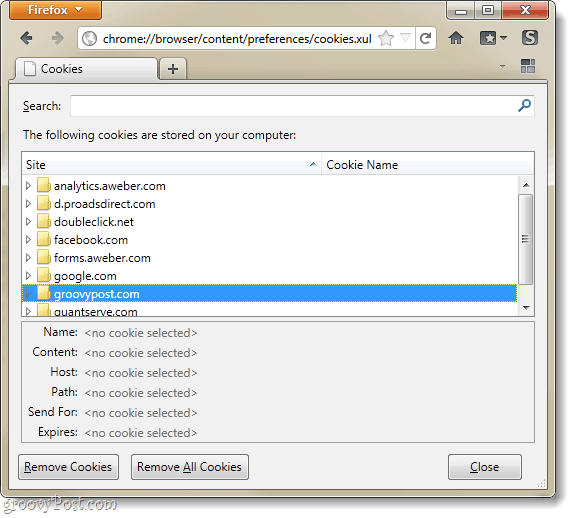 Firefox 4 cookie manager