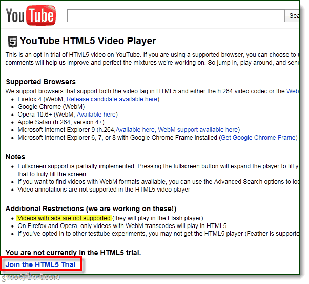 YouTube HTML5 opt-in