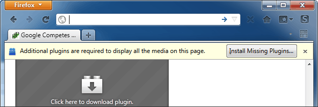 Firefox - How to disable missing plugin notifications