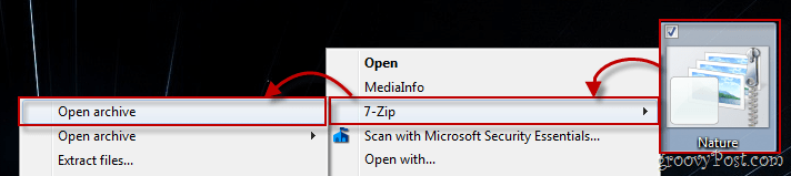 Windows 7 Context Menu using 7-zip