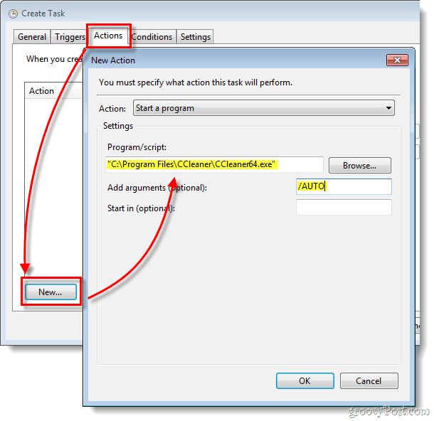 actions start a program, program location and arguments