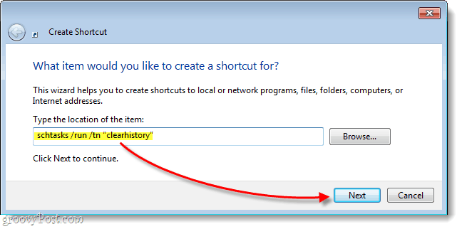 how to turn a windows task into a shortcut
