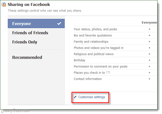 under sharing on facebook, click customize settings