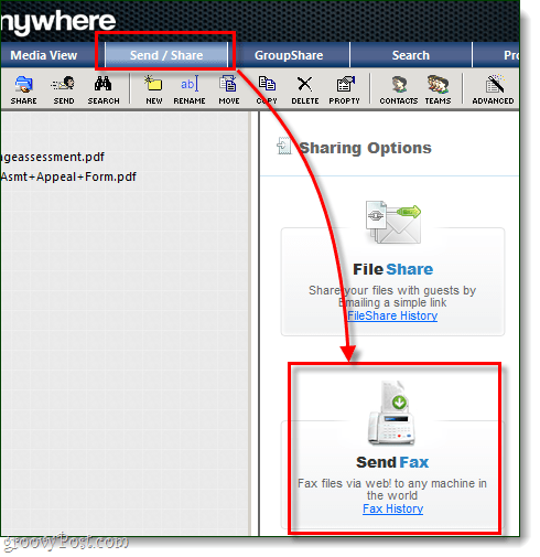 the send/share tab on fileanywhere links up to the sendfax button