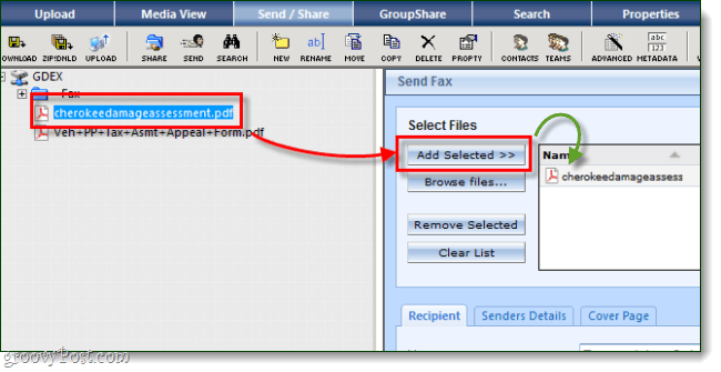how to add files to a fax in filesanywhere
