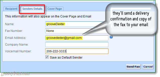 specify your details as the fax sender