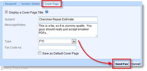 customize your fax cover page