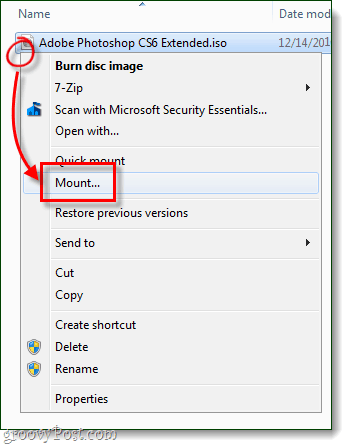 mount an iso with the context menu