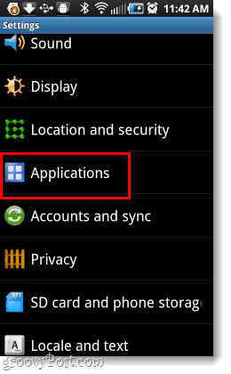 Android Applications settings
