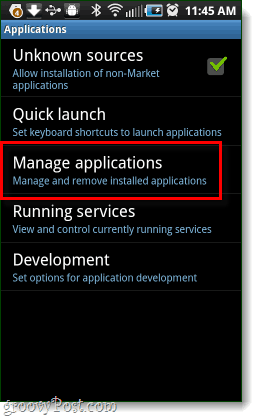 Manage android application settings