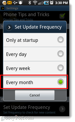 set sprint notifications to monthly
