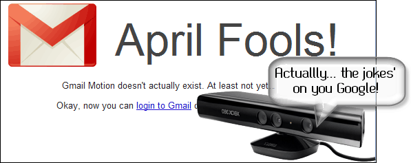 April Fools Joke - Gmail Motion is a real kinect hack