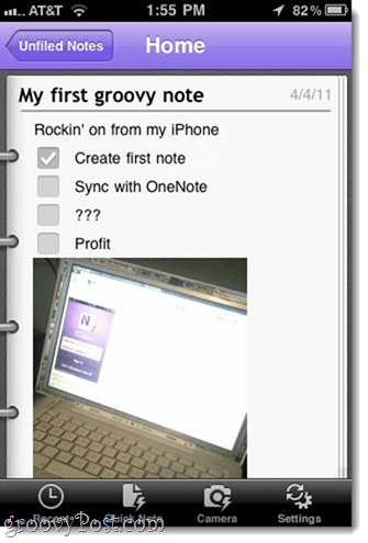 Including pictures in OneNote for iPhone