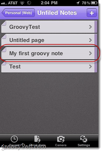OneNote Unfiled Notes in iPhone