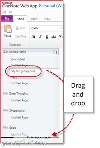 Organizing Sections in One Note Skydrive