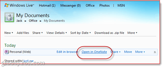 Onenote office live skydrive
