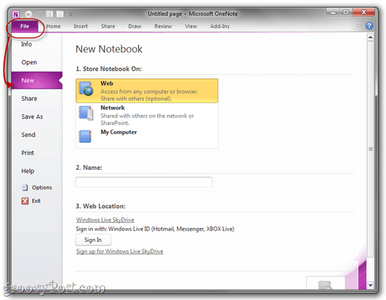 Save Notebook in SkyDrive