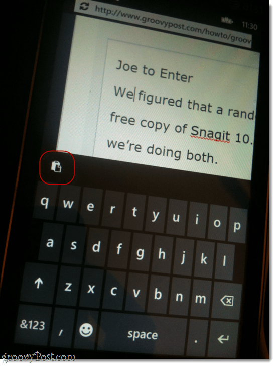 copy and paste in windows phone 7