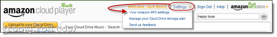 Amazon Cloud Player Settings
