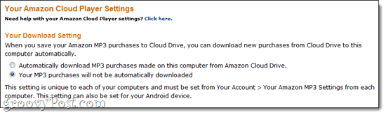 Amazon Cloud Player Settings