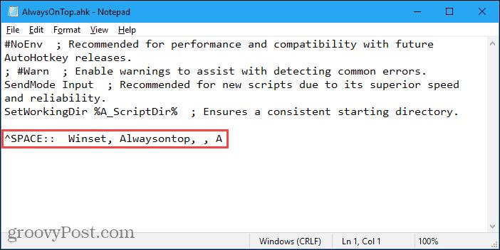 AlwaysOnTop AutoHotkey script