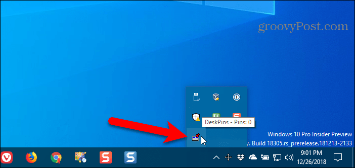 Click DeskPins icon in Windows system tray to get a pin