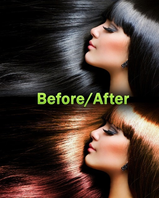 before after olor edit hair photoshop retouch tutorial final result