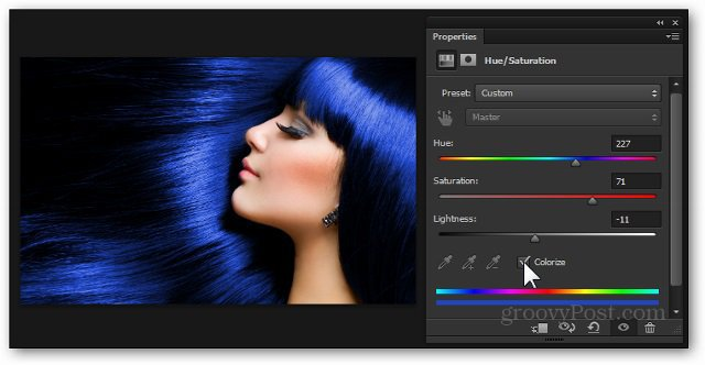 blue hair color photoshop adjustment layer hue saturation add effect tutorial