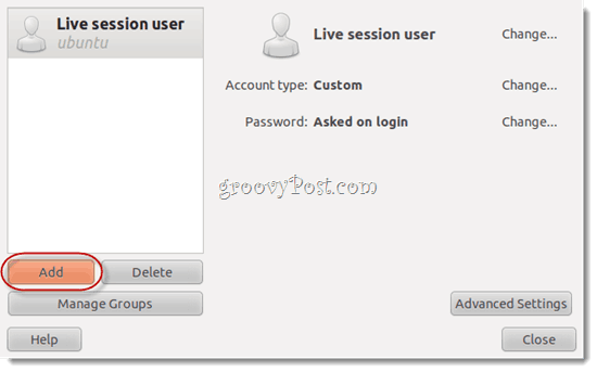 live session user ubuntu