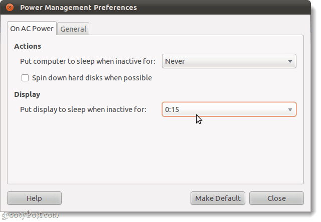 Put display to sleep time, ubuntu power management