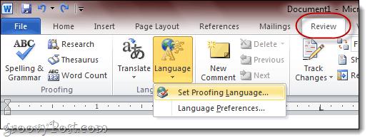 How to change Microsoft Word 2010 language settings to English (UK)?