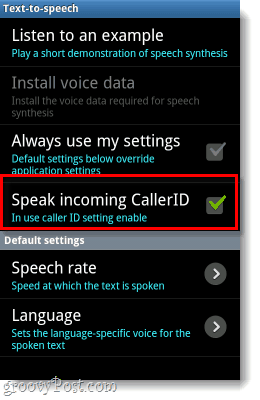 enable voiced callerID