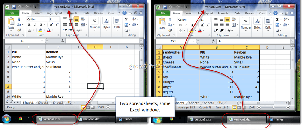 How to view excel 2010 spreadsheets side by side for comparison open the second excel spreadsheet youll notice that there are now two taskbar buttons for excel but no matter which one you click it pops up in the same ibookread ePUb