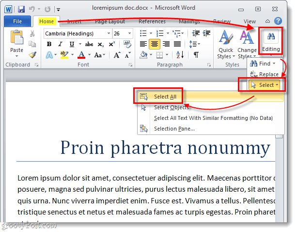 select all text in a word 2010 document