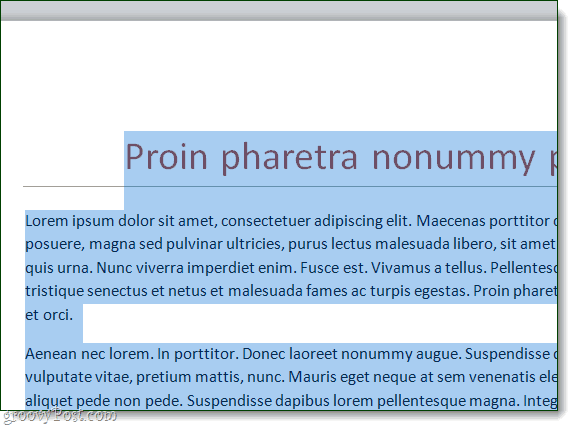 all text highlighted and selected in a word 2010 doc
