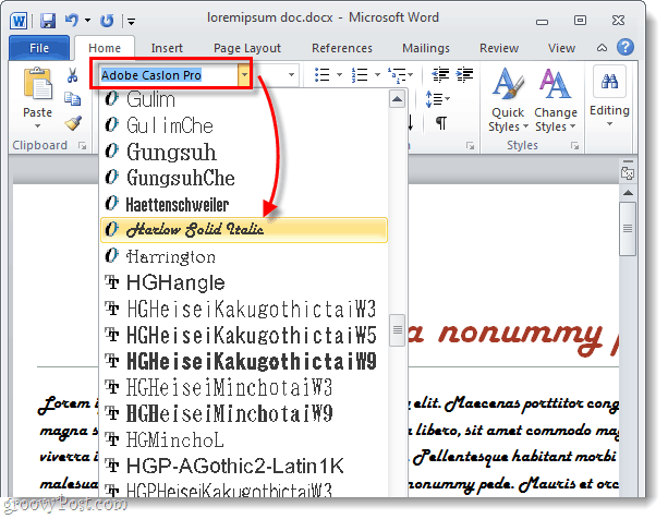 select a font in word 2010