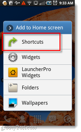 use the shortcuts menu