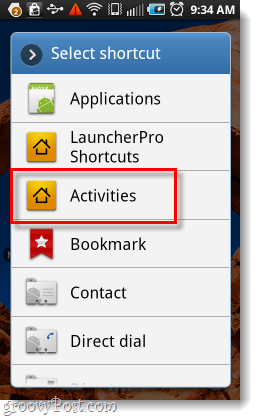 use the activities menu