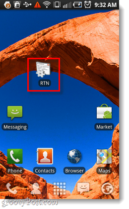 rtn shortcut on the homescreen