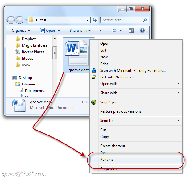 How to Explore the Contents of a  docx File in Windows 7