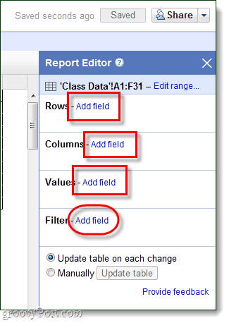 modify pivot table report data