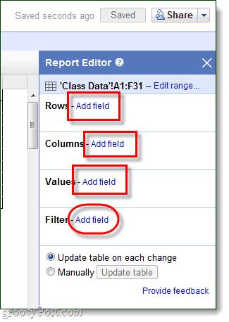 modify pivot table report data