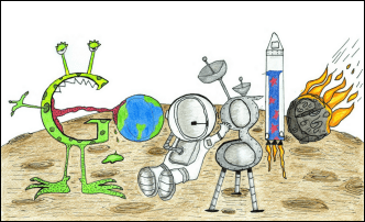 Natioanl first place winner of the Google 4 Doodle contest