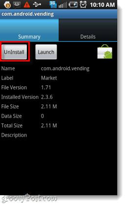 uninstall the market app
